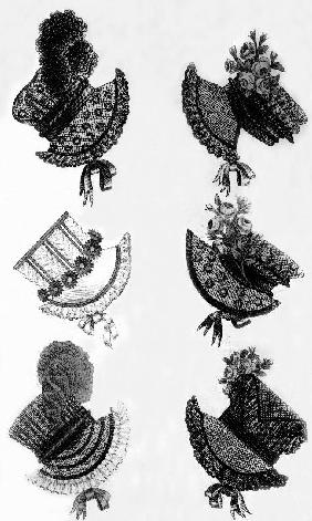 Woman's fashion, France : different sorts of hats, engraving