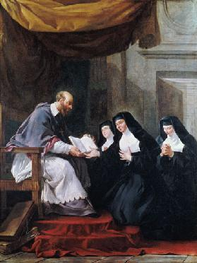 St. Francois de Sales (1567-1622) Giving the Rule of the Visitation to St. Jeanne de Chantal (1572-1