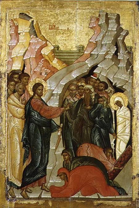 the raising of lazarus russian icon novgorod school as