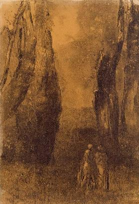Lovers in a rocky landscape (charcoal)