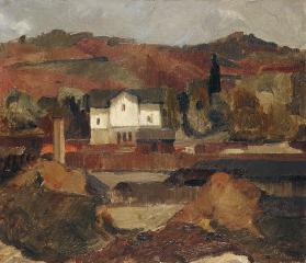 Landscape with a white House.