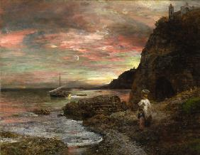 Achenbach, Oswald : Evening Sun at Posillipo