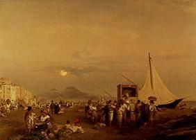 Achenbach, Oswald : Punch and Judy show on the...