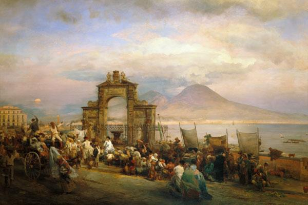 Achenbach, Oswald : Market day in Naples