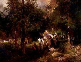 Achenbach, Oswald : Procession in the larch wo...