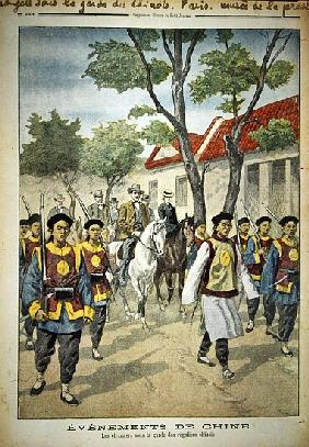 European foreigners under armed escort Chinese regular soldiers during the Boxer rebellion of 1899-1
