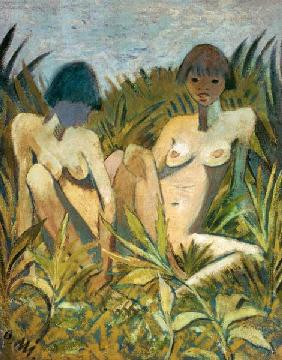 Two girls in the reed