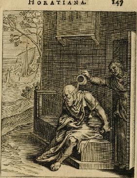 Xanthippe emptying a chamber pot over Socrates. (From Emblemata Horatiana)