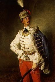 Portrait of László in hussar uniform.