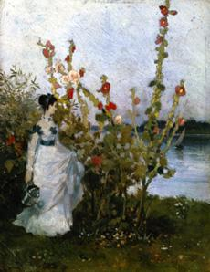 Szinyei-Merse, P�l : Lady at the mallow bush.