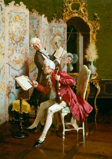Family concert in the rococo period paolo bedini as art for Rococo period paintings