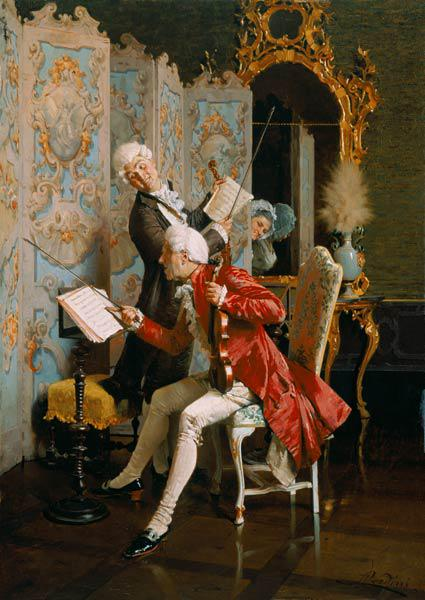 Family concert in the Rococo period.