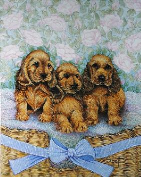 Brother Puppies (oil on canvas)