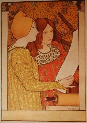 Two girls with a printing press