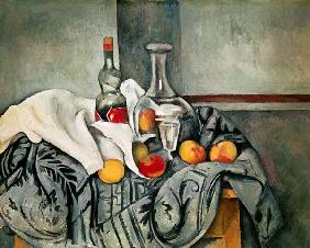 Still life with peaches and bottles