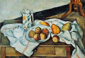 Still Life with Carafe, Sugar Bowl, Bottle and Fruits