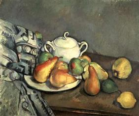 Still life with Sugarbowl, Pears and Tablecloth