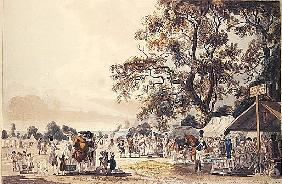 The Encampment in Hyde Park, 1780 (colour aquatint)