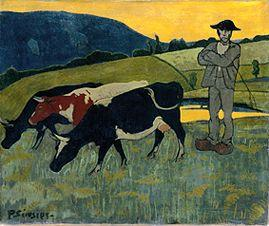 Serusier, Paul : Smallholder with three cow...
