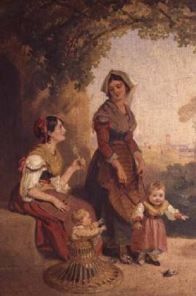 Two Roman ladies and their children