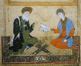 A Young Prince is taught by a Saint, illustration from a manuscript