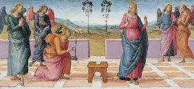 Perugino / Annunciation to Mary / Paint.