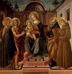 Maria with the child surrounds. of the hll. Zeno, Johannes d.T., Antonius Abbas and Franziskus