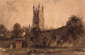 Gloucester Cathedral with the Ruins of St. Catherine's Church