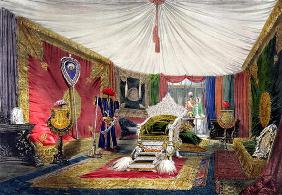View of the tented room and ivory carved throne, in the India section of the Great Exhibition of 185