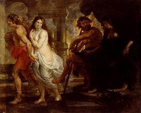 Orpheus leads Eurydike out of the Hades.