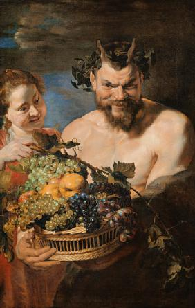 Satyr and girl with Fr�chtekorb.