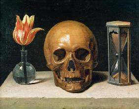 Vanitas Still Life with a Tulip, Skull and Hour-Glass
