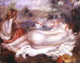 Bather reclining and a young girl doing her hair