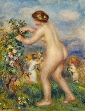 Naked young woman in landscape.