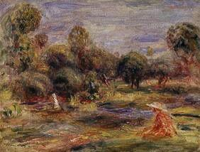 Sedentary woman at a pond at Cagnes at 1907.