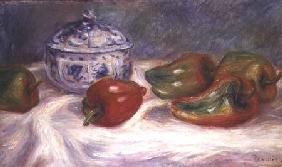 Still life with a sugar bowl and red peppers