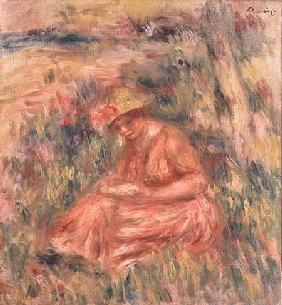 Woman seated on the grass