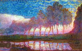 Row of Eleven Poplars in Red