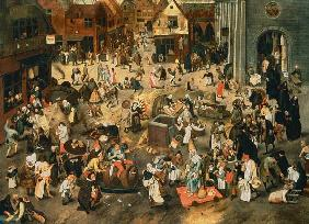 Brueghel the Elder, Pieter : Quarrel of the carnival wi...