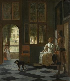 A Woman Directing a Young Man With a Letter