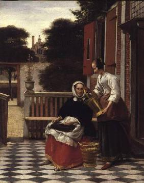 Woman and Maid with a pail in a courtyard