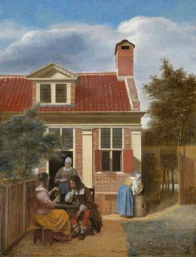 A company in the courtyard behind a house