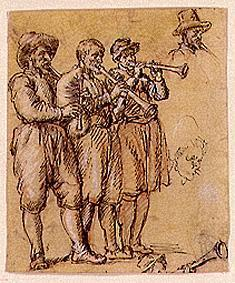 Three musicians with bagpipes and playing the shawm