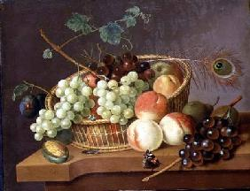 Still Life of Grapes and Peaches in a basket
