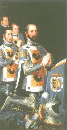 Portrait Juan López Gallo with three sons