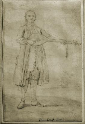 Longhi / Lute Player / Charcoal Drawing