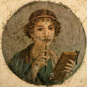 Portrait of a young woman with slate pencil and Schreibtäfelchen