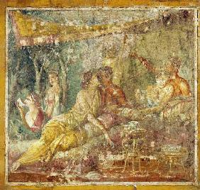 Pompei, wall painting : Two couples