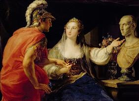 Cleopatra showing Octavius the bust of Julius Caesar