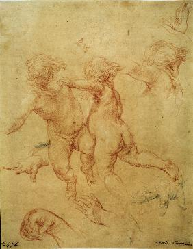 Two flying putti. Study